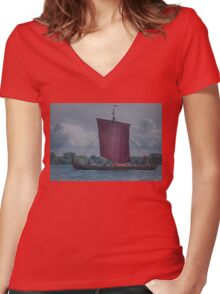 The Dragon Harald Harfagre at Toronto's Harbourfront Women's Fitted V-Neck T-Shirt