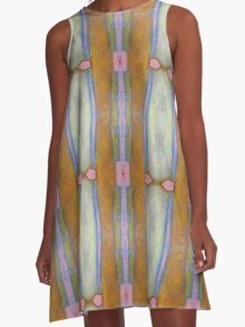Gold and Pink Abstract A-Line Dress