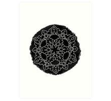 Black Brush Mandala Art Print