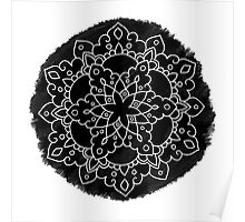 Black Brush Mandala Poster