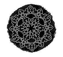 Black Brush Mandala Photographic Print