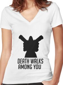 Death Walks Among You Women's Fitted V-Neck T-Shirt