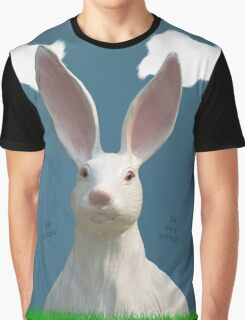 Be Afraid! Creepy Bunny Art Graphic T-Shirt