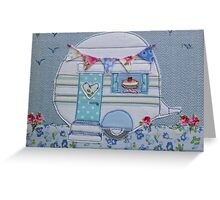 White vintage caravan stitched Greeting Card