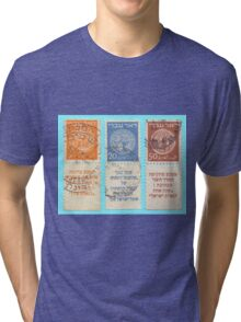 Doar Ivri (Hebrew Post) are stamps that were issued prior to declaration of the state of Israel  Tri-blend T-Shirt