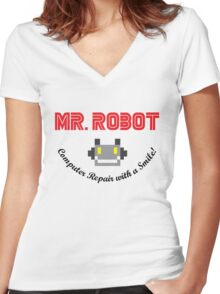 Mr Robot Computer Repair Smile Women's Fitted V-Neck T-Shirt