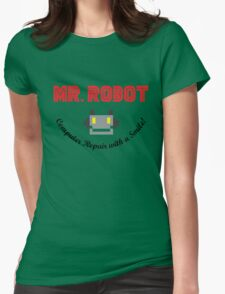 Mr Robot Computer Repair Smile Womens Fitted T-Shirt