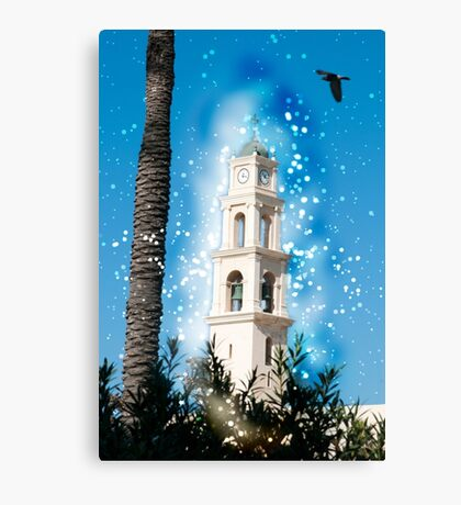 Computer Generated Israel, Jaffa, the belfry of the St Peter church and Monastery Canvas Print