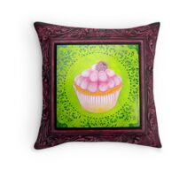 Raspberry Cream Cupcake Throw Pillow