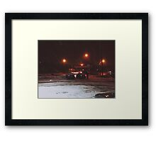8:23, Just got out into a blizzard Framed Print
