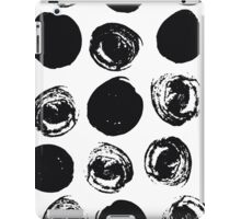 Dry brush painted black circles on white - pattern iPad Case/Skin