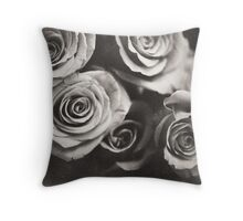 Medium format analog black and white photo of white rose flowers Throw Pillow