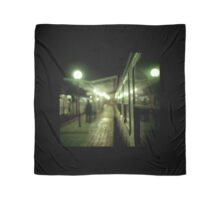Old train at night in empty station green square Hasselblad medium format film analog photograph Scarf