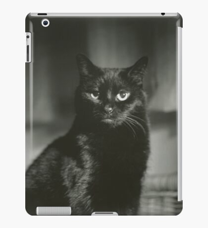 Portrait of black cat square black and white analogue medium format film Hasselblad  photograph iPad Case/Skin