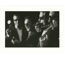 Men in wedding smoking cigars black and white analog silver gelatin photo Art Print