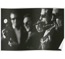 Men in wedding smoking cigars black and white analog silver gelatin photo Poster