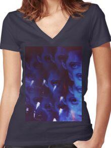 Swirls in Dark - analog 35mm color film photo Women's Fitted V-Neck T-Shirt