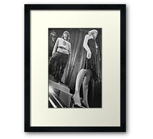 Shop dummy female mannequins black and white 35mm analog film photo Framed Print