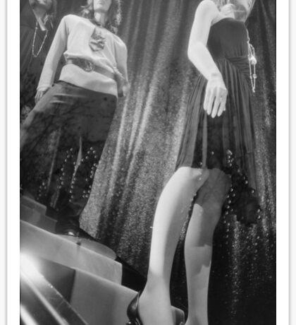 Shop dummy female mannequins black and white 35mm analog film photo Sticker