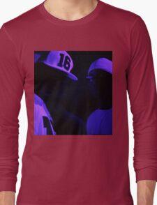 Hip hop rap gangster rappers singers at night in dark nightclub bar lit in pink black light wearing baseball caps Long Sleeve T-Shirt