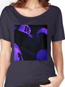 Hip hop rap gangster rappers singers at night in dark nightclub bar lit in pink black light wearing baseball caps Women's Relaxed Fit T-Shirt