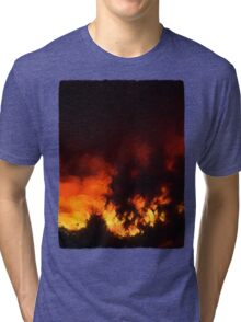 Weeping Tree Silhouette and Sunset 1 Tri-blend T-Shirt