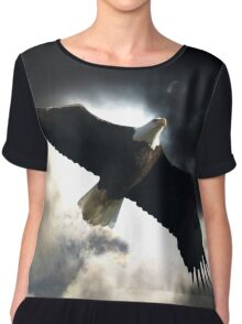 Soaring Eagle in Stormy Skies Chiffon Top