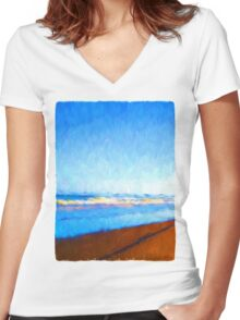 Beautiful Sea Women's Fitted V-Neck T-Shirt