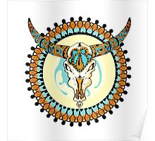 Decorative vector elelement with bull scull Poster