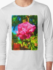 Pink Rose next to the Brick Wall Long Sleeve T-Shirt