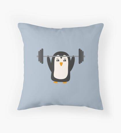 Penguin Weightlifting Throw Pillow