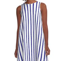 Blue and White Striped Slimming Dress A-Line Dress