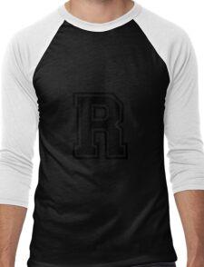 """Letter """"R""""  - Varsity / Collegiate Font - Black Print Men's Baseball ¾ T-Shirt"""