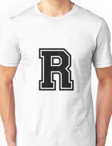 """Letter """"R""""  - Varsity / Collegiate Font - Black Print Unisex T-Shirt"""