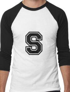 """Letter """"S""""  - Varsity / Collegiate Font - Black Print Men's Baseball ¾ T-Shirt"""