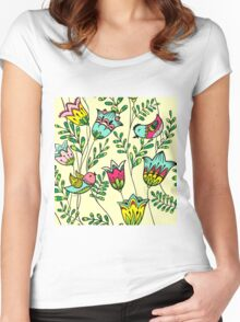 Cute Colorful Birds Women's Fitted Scoop T-Shirt