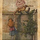 Humpty Dumpty and Alice,Alice In Wonderland,Vintage Dictionary Art by DictionaryArt