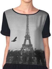 Eifel Tower Black & White Chiffon Top