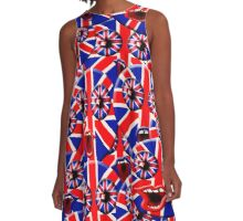 over crowded british smileys A-Line Dress