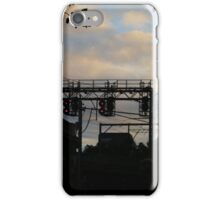 Powerlines and stop lights at sunset iPhone Case/Skin