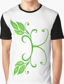 A letter K formed with leaves. Graphic T-Shirt