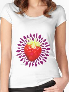 Summer pop - violet strawberry Women's Fitted Scoop T-Shirt