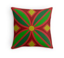 Red Flower Pattern Throw Pillow