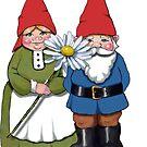 Gnome Couple with Daisy, Whimsical Fantasy Art by Joyce Geleynse