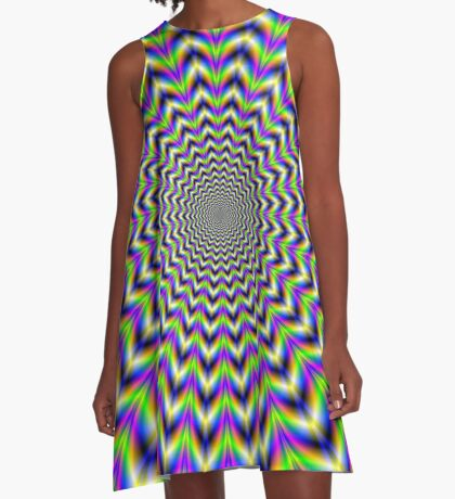 Psychedelic Star in Yellow Pink Blue and Green A-Line Dress