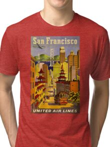 """UNITED AIR LINES"" Fly to San Francisco Print Tri-blend T-Shirt"