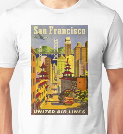 """UNITED AIR LINES"" Fly to San Francisco Print Unisex T-Shirt"