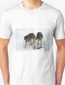 A pair of European gray wolves (Canis lupus), in snow, Finland, Lapland Unisex T-Shirt
