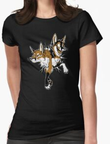 STUCK Foxes (red) Womens Fitted T-Shirt