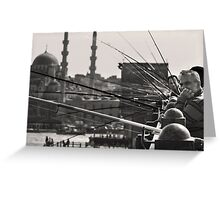 Fishing & thinking on Galata bridge Greeting Card